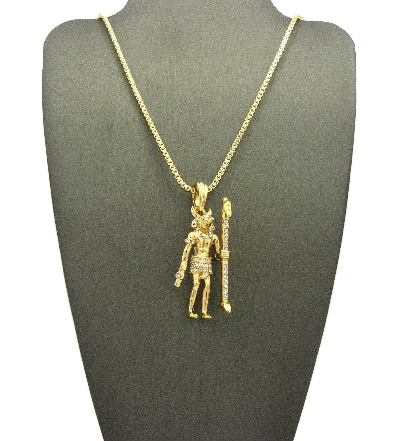18k Gold Plated Iced Out Standing ANUBIS
