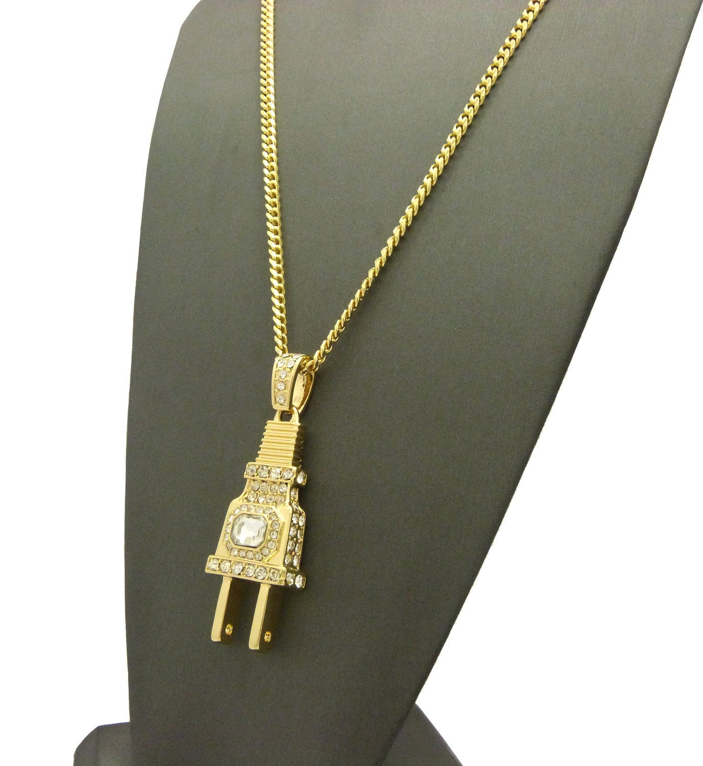 "14K Gold Plated Iced Out ""I'm The Plug"" Pendant with Implanted Gem"