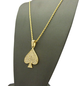 14k Gold Plated Iced Out Spade Pendent
