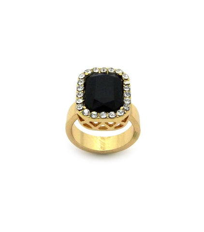 Black Gem Stone Iced Out Ring