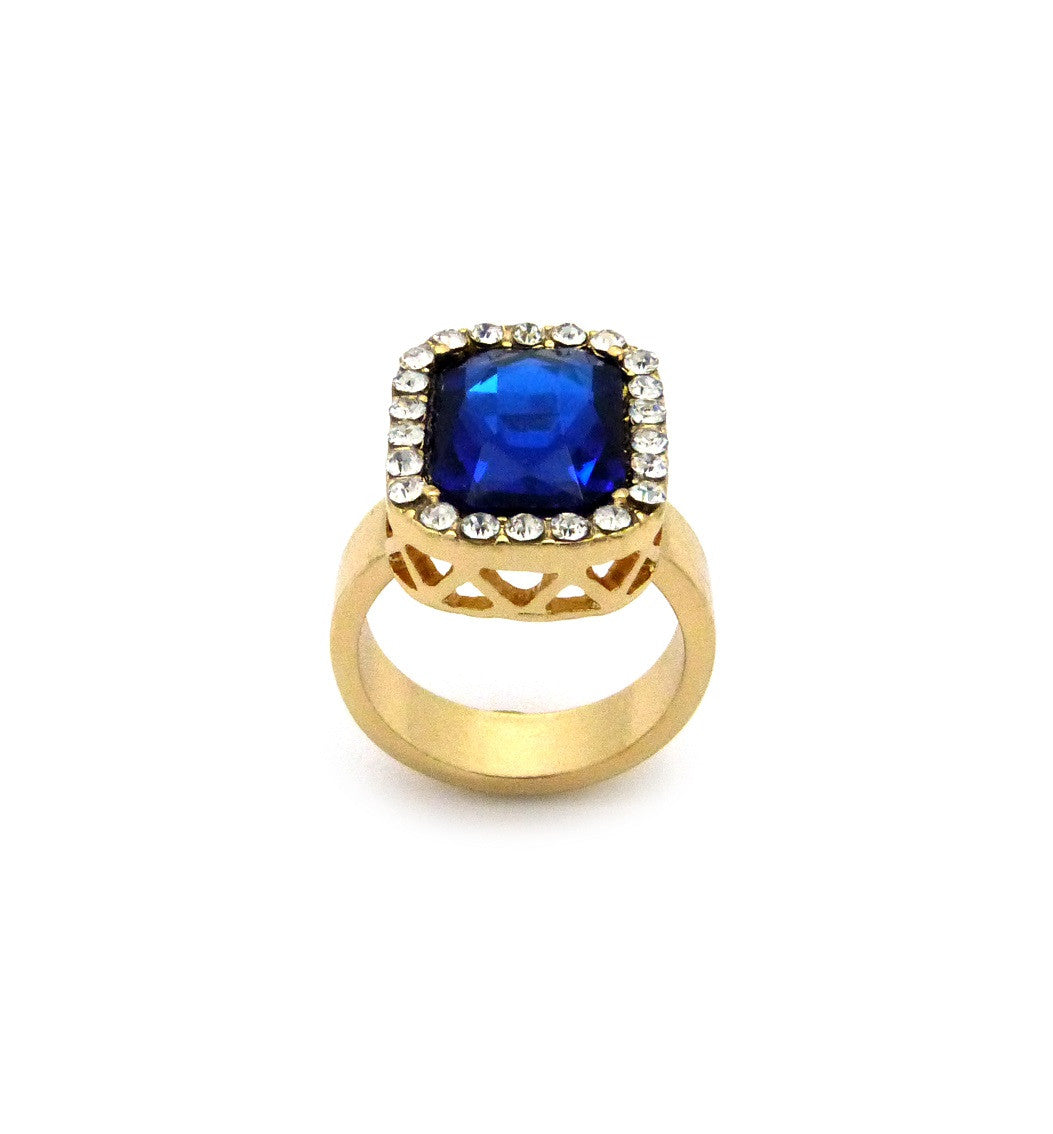 Blue Gem Stone Iced Out Ring