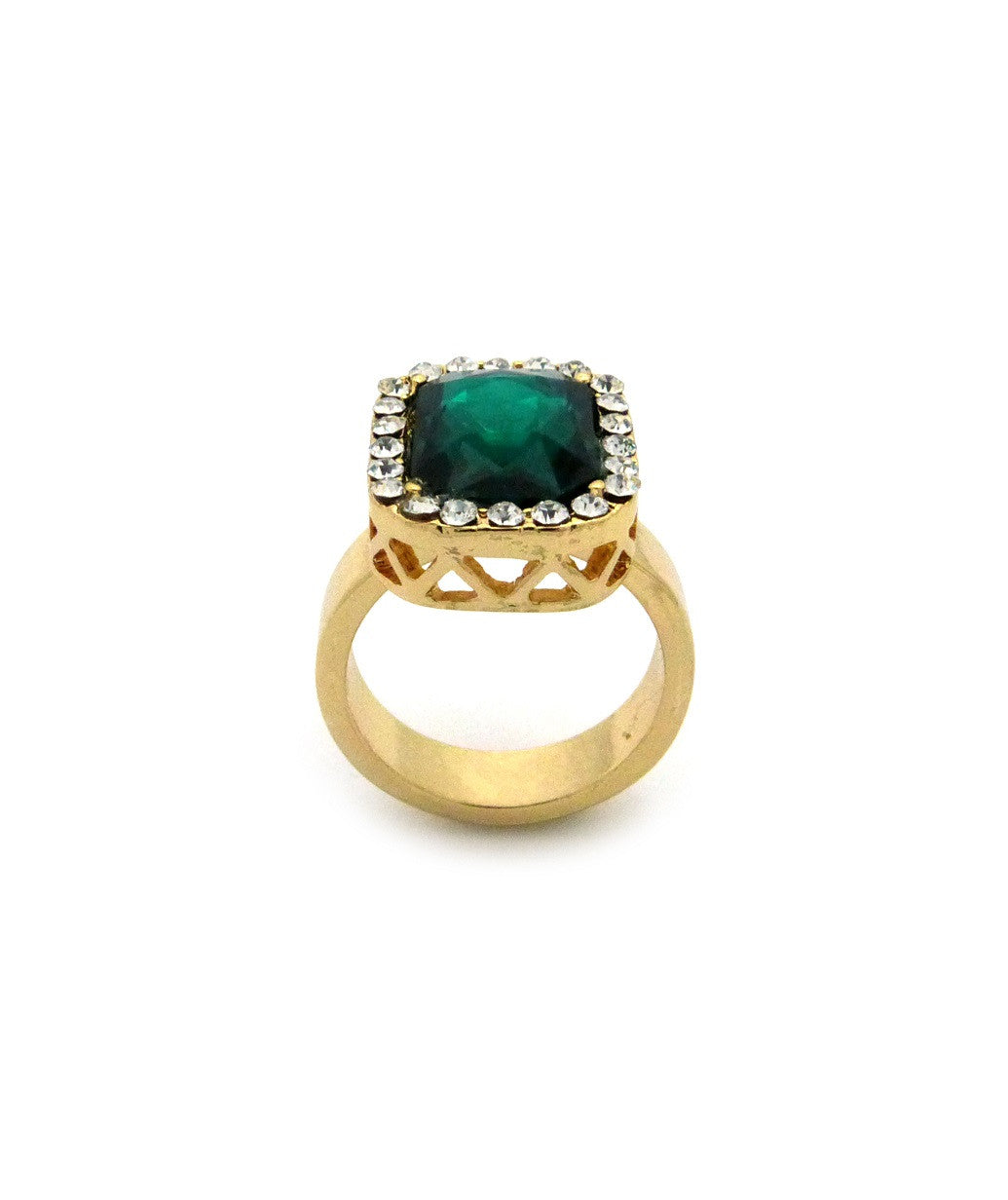 Emerald Gem Stone Iced Out Ring