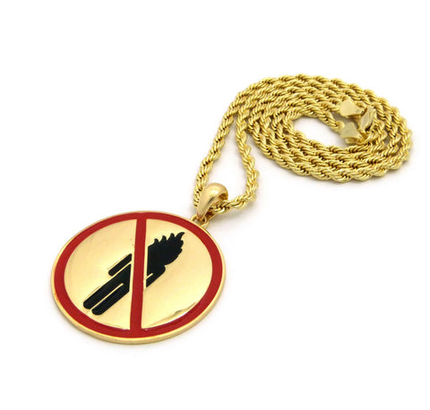 14k Gold Plated Fire Man Pendant