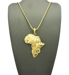 14k Gold Plated Africa Pendant with Implanted Echo Elephant