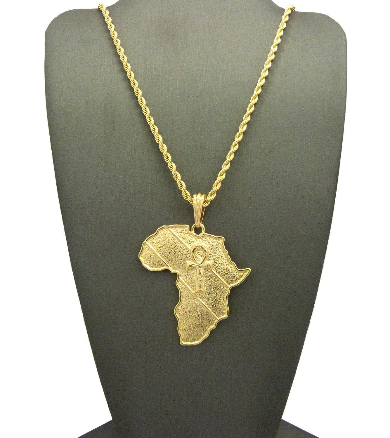 14k Gold Plated Africa Pendant with Implanted Ankh Cross
