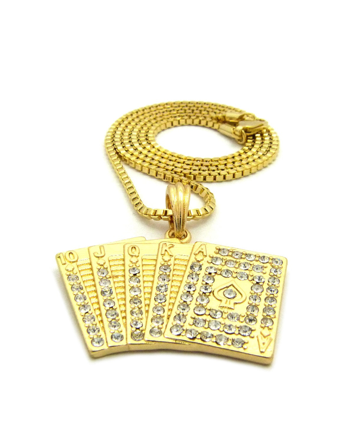 Iced Out Royal Flush on 24 Inch Box Chain