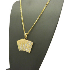 14k Gold Plated Iced Out Royal Flush Cards
