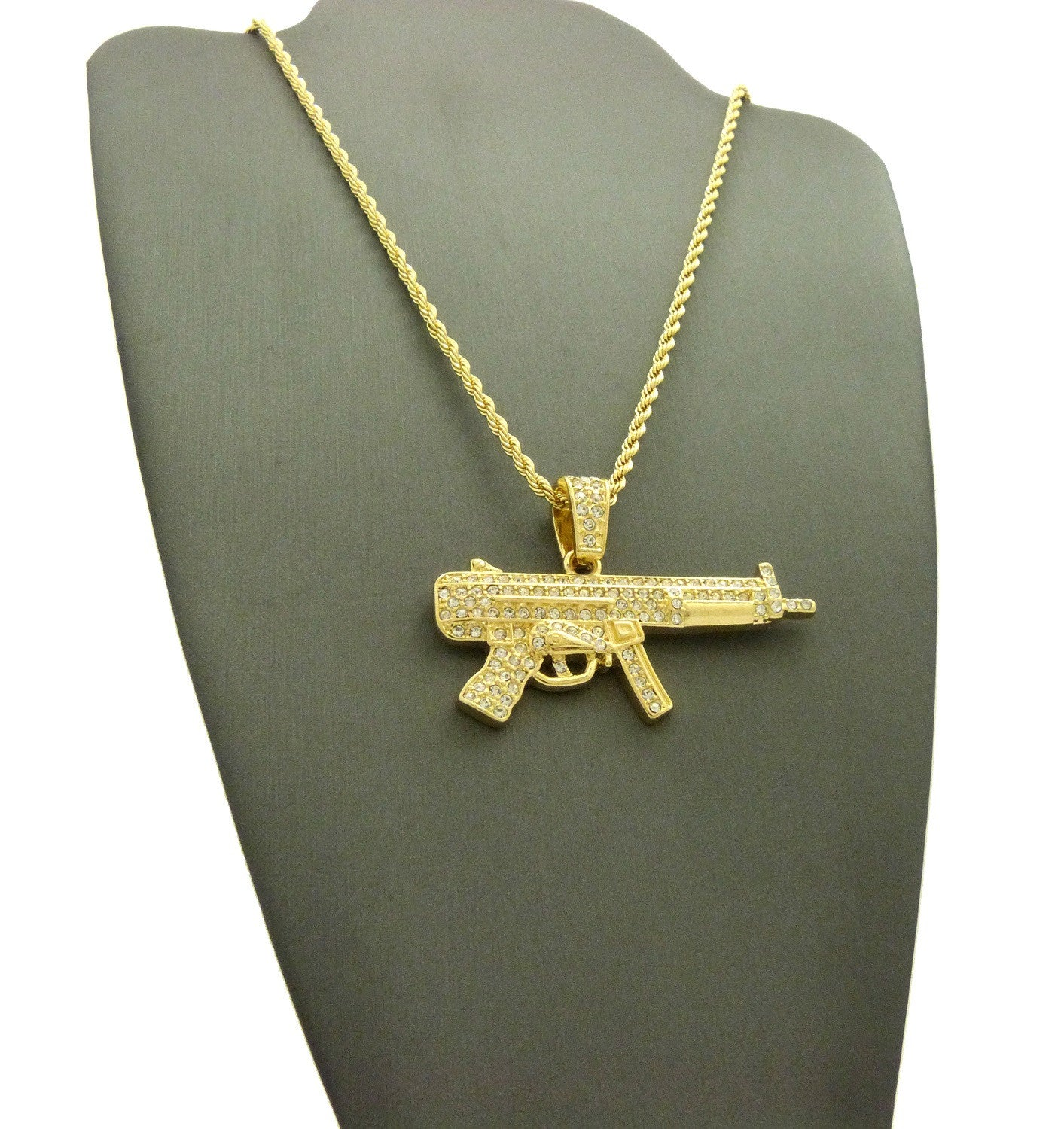 14k Gold Plated Super Iced Out Machine Gun Pendent