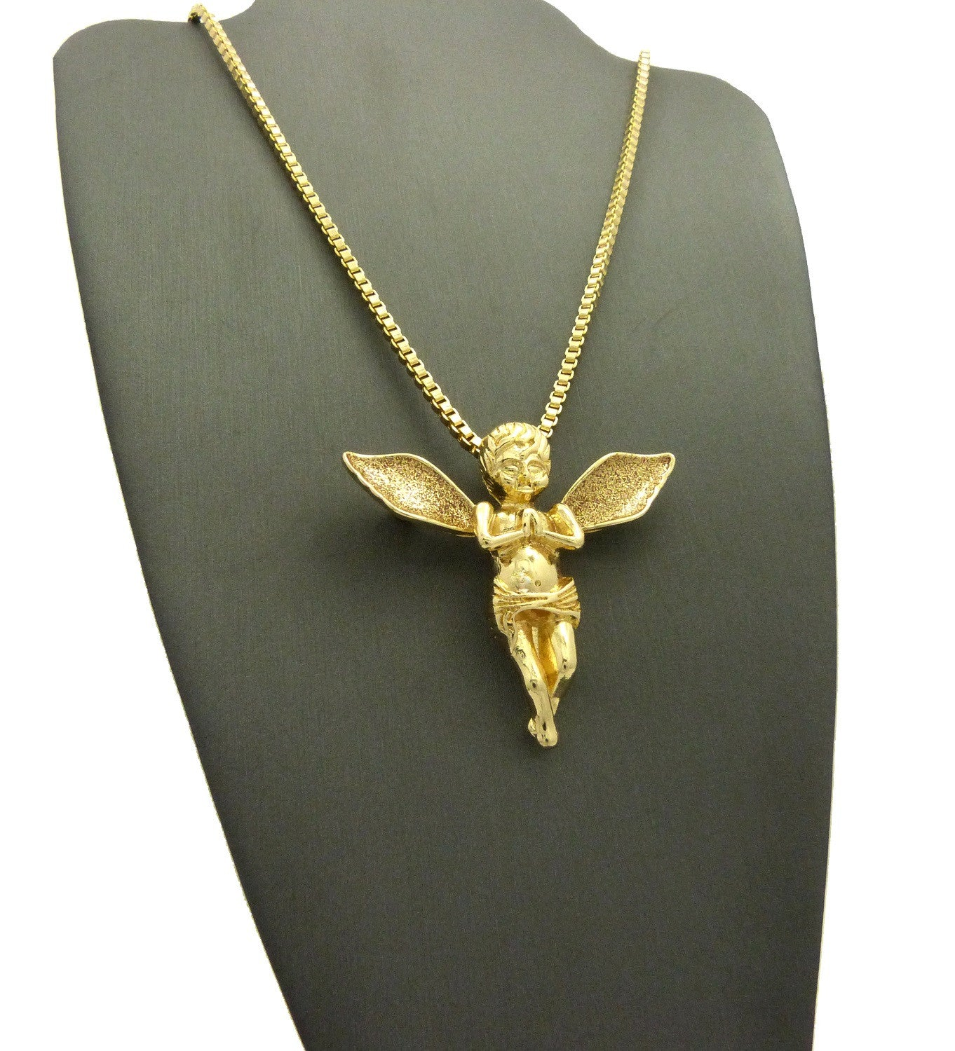 2 Chain Set Praying Angels with Brown Ice Wings on 24 and 30 inch Box Chains