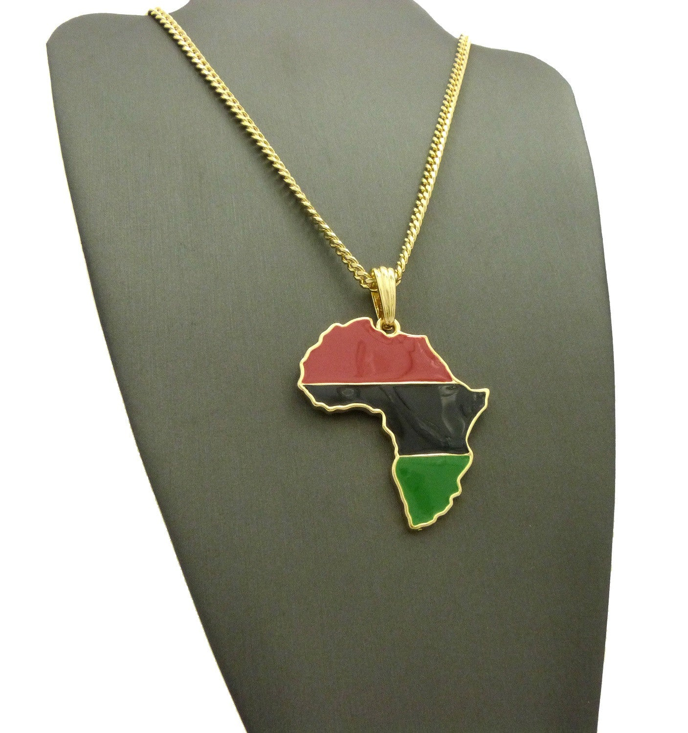 Africa Red Black and Green on a Cuban Chain