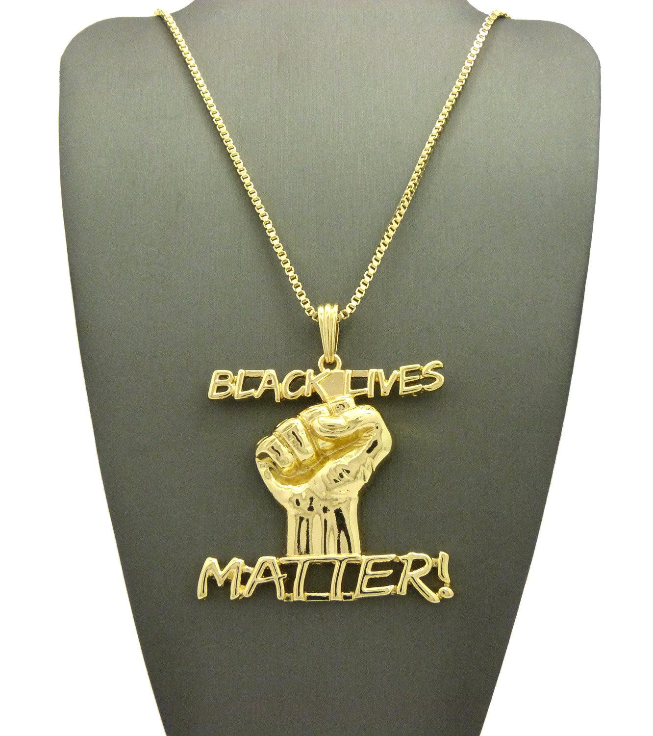 14k Gold Plated Black Lives Matter Piece On 24 Inch Box Chain