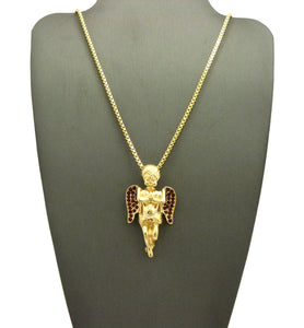 14k Gold Plated Praying Angel with Ruby Red Wings