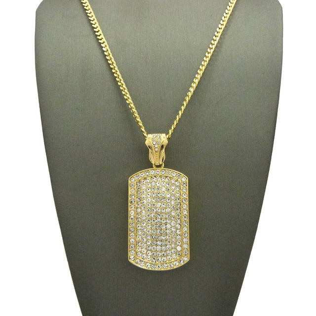 14k Gold Plated Super Iced Out Dog Tag