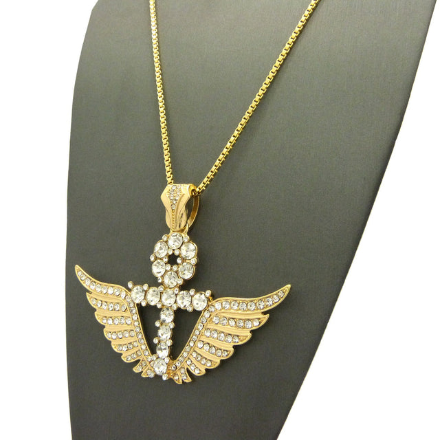 Fully Iced Out Ankh Cross with Super Iced Out Angel Wings