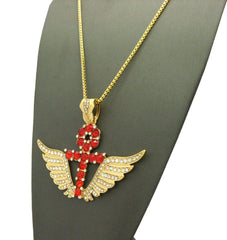 Ruby Red Iced Out Ankh Cross with Super Iced Out Angel Wings