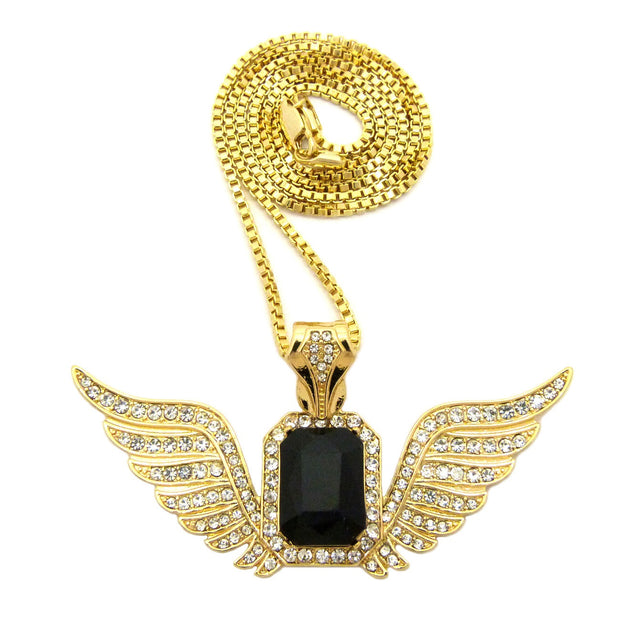 Black Gem Blended With Super Iced Out Angel Wings