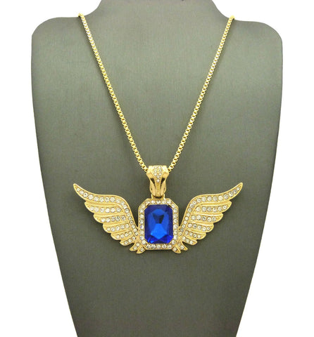 Saffire Blue Gem with Super Iced Out Angel Wings