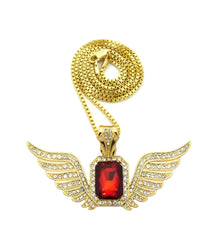 Ruby Red Gem Blended with Super Iced Out Angel Wings