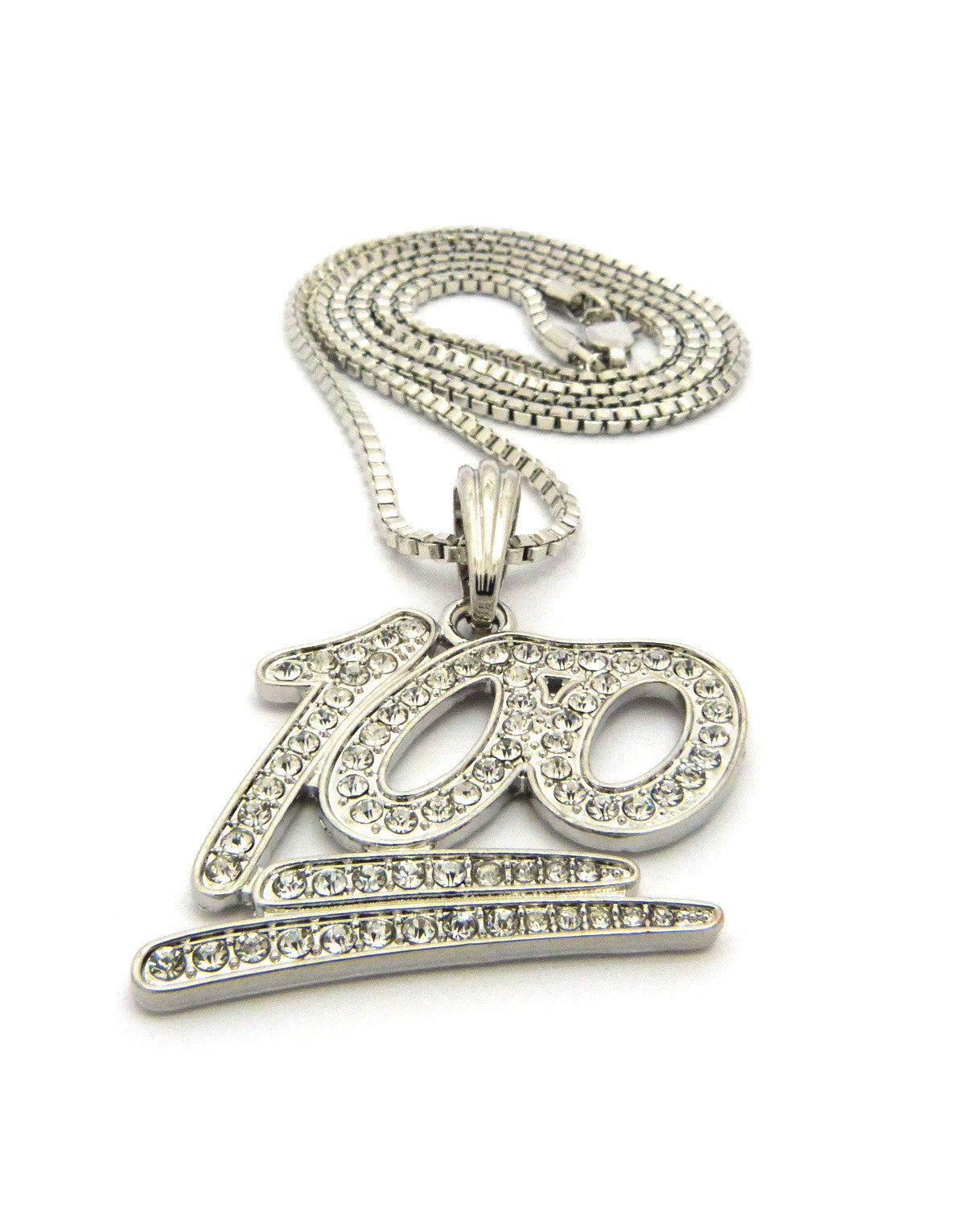 Iced Out Silver Plated Keep It 100 Pendant
