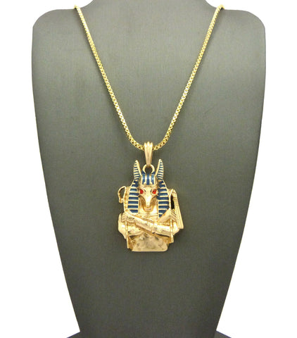 14k Gold Plated Anubis On 24 Inch Box Chain