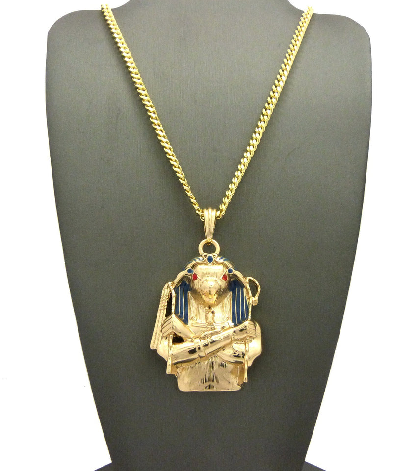 14k Gold Plated Horus Bird On 24 Inch Rope Chain