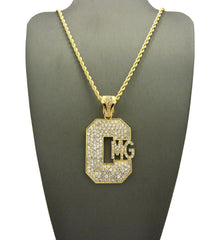 Iced Out CMG Pendant On 24 inch Chain