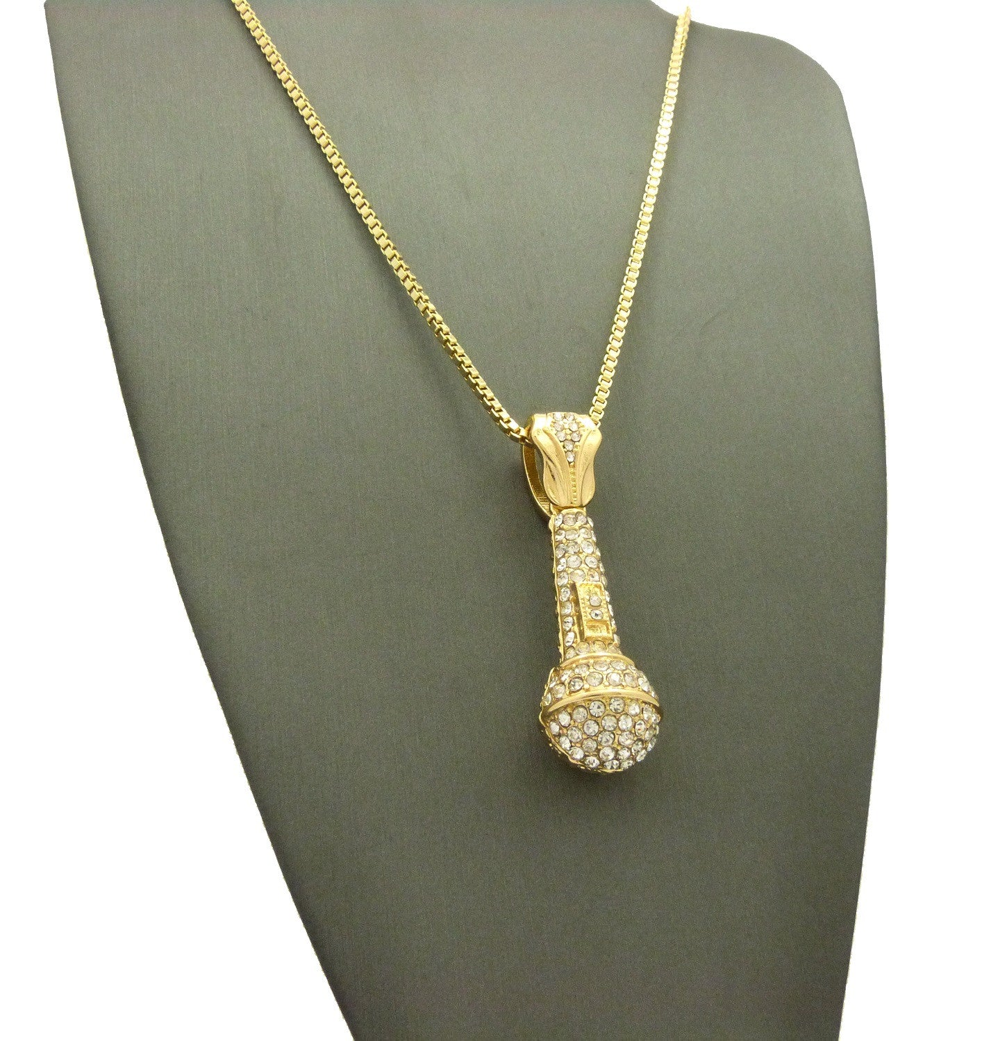 14k Gold Plated DROP THE MIC Pendant