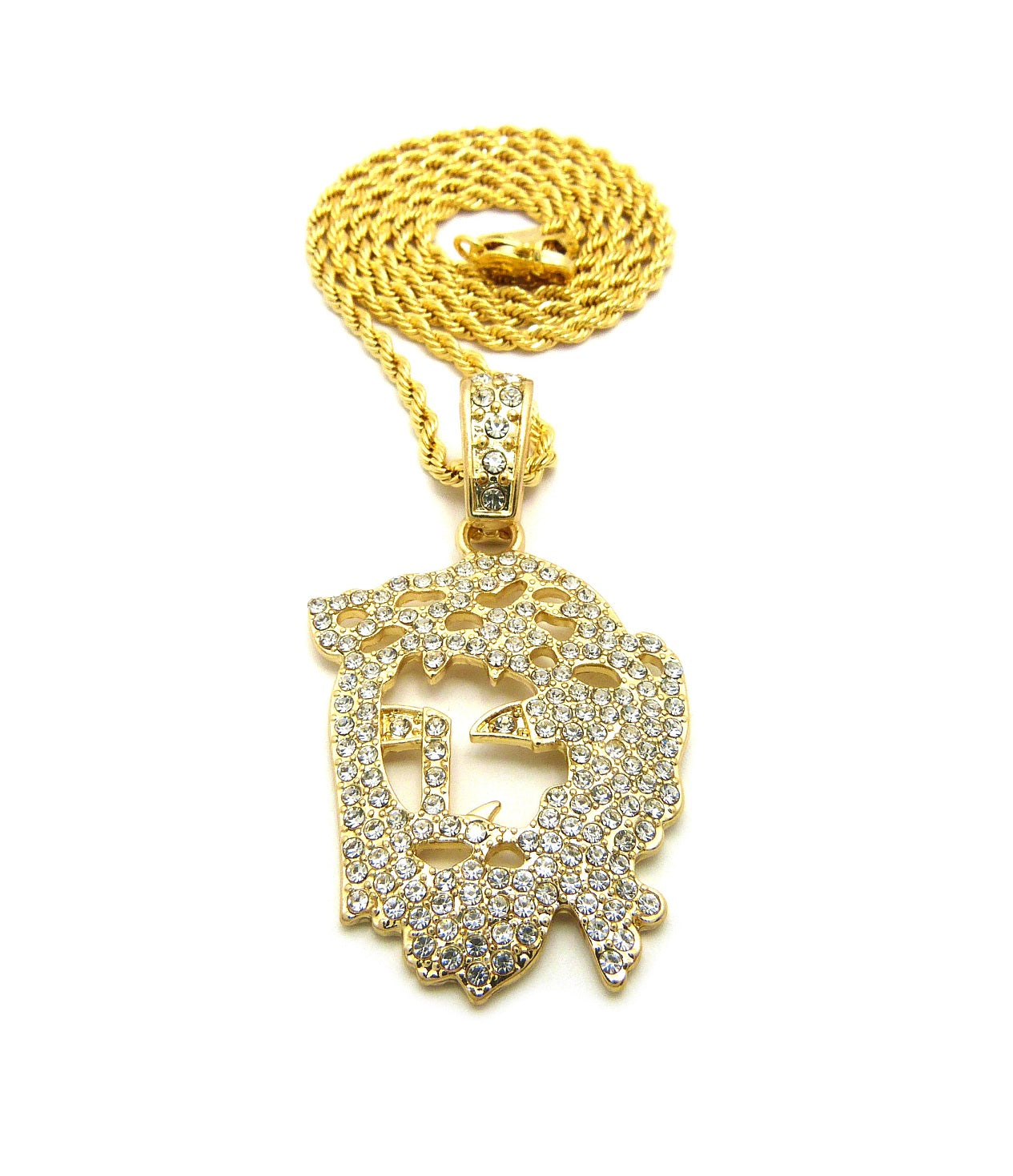 14K Gold Plated Flat Iced Out Jesus Piece