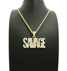 14K Gold Plated Iced Out Savage Chain
