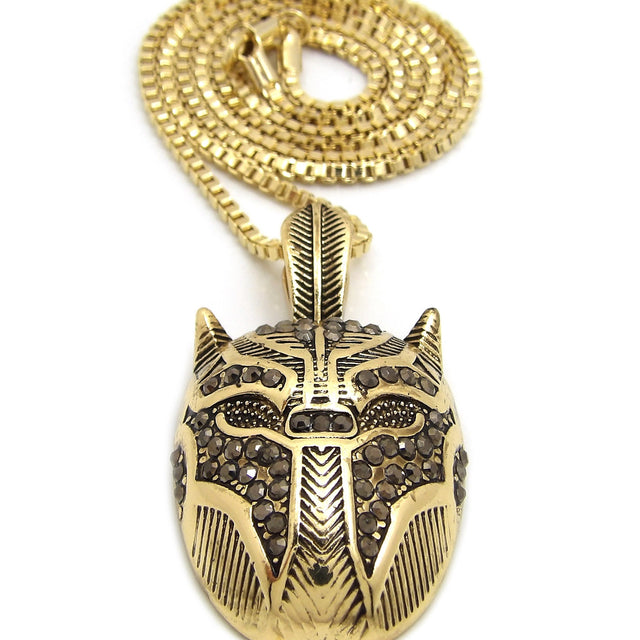 14K Iced Out Black Panther Necklace