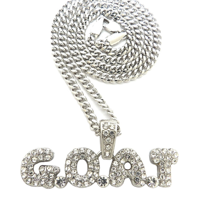 14K Iced Out GOAT Pendant And Necklace