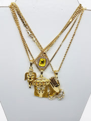 14k Gold Plated 4 Chain Combo: Yellow Gem Yellow Jesus Yellow Praying Hands And Praying Angel