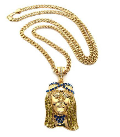 Iced Out Yellow And Blue Jesus On Miami Cuban Link