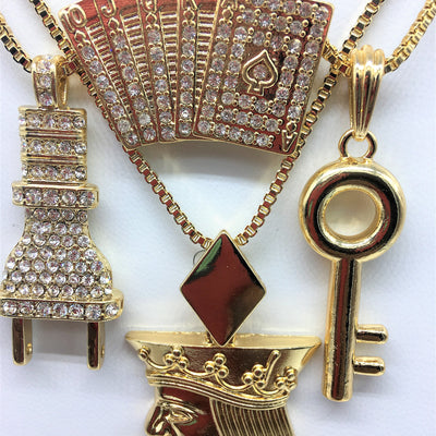 14K Gold Plated 4 Chain Set: Iced Out Royal Flush King Me Head Iced Out Plug And Keys