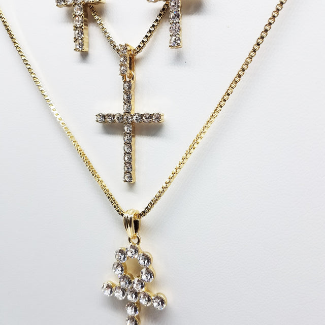 14K Gold Plated 4 Chain Combo: Big Iced Out Cross Little Iced Out Cross Big Ankh Little Iced Out Ankh
