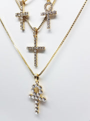 14K Gold Plated 4 Chain Combo: Big Icey Cross Little Icey Cross Big Ankh Little Icey Ankh