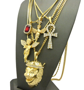 14k Gold Plated 5 Chain Combo Big King Leo Ankh Angel