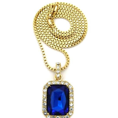 Blue Gem Stone On 24 Inch Box Chain