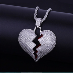 14K Iced Out Silver Broken Heart With Rope Chain