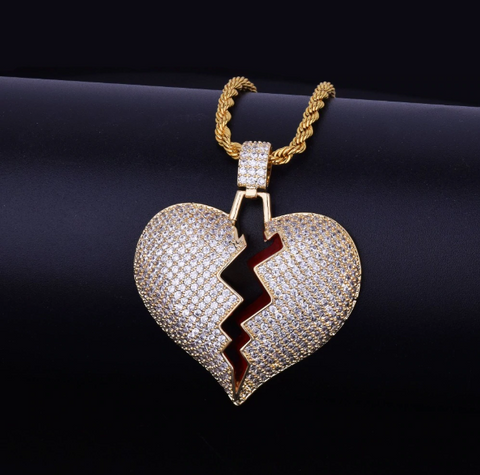 14K Icey Gold Broken Heart With Rope Chain