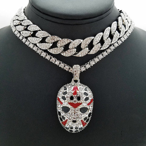 14k Iced Out White Gold Plated And Savage Mask On Tennis Chain