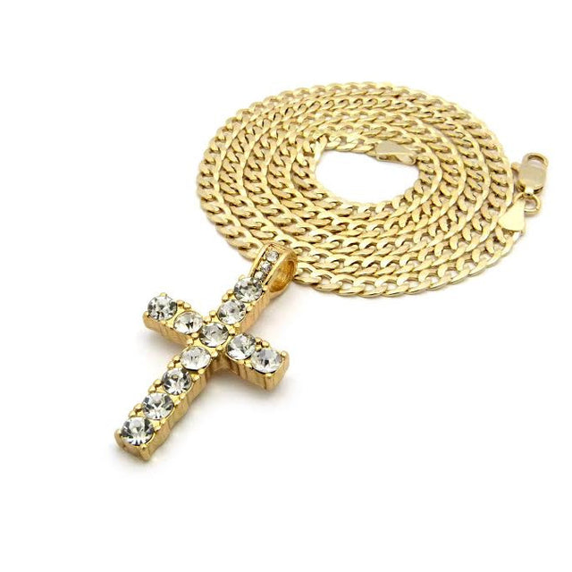 Iced Out Cross On 24 Inch Cuban Link