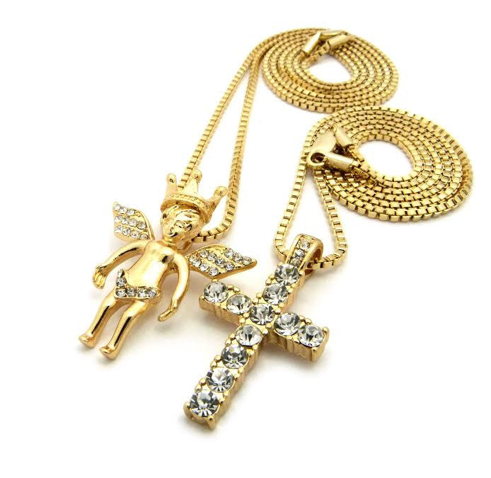 2 Chain Set: Icey Crown Angel And Iced Out Cross