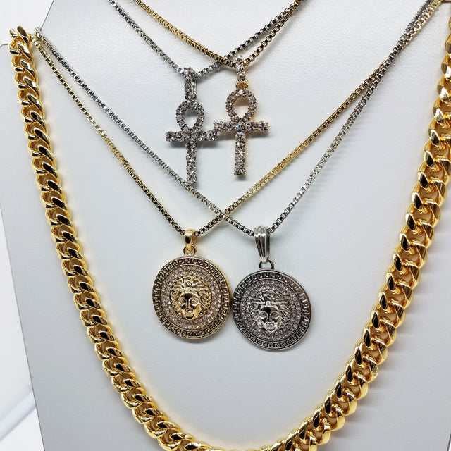 14K Gold Plated 5 Chain Set: Silver Ankh Gold Ankh Silver Medusa And Gold Medusa 30 Inch Cuban