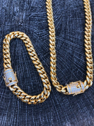 14K Cuban And Bracelet Combo Iced Out Clasp