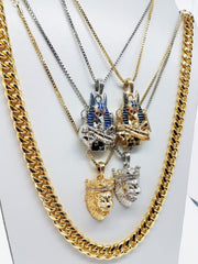 14k Gold Plated 5 Chain Combo: Gold Anubis Silver Anubis Gold King Leo Silver King Leo 30 Inch Cuban