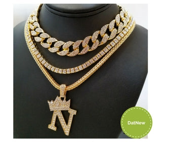 14k Iced Out Cuban Choker And Tennis And Letters Pick Any Letter You Like