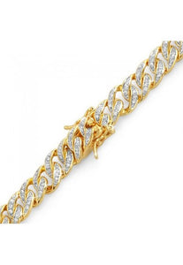 18k Yellow Gold Plated Iced Out Miami Cuban link Bracelet