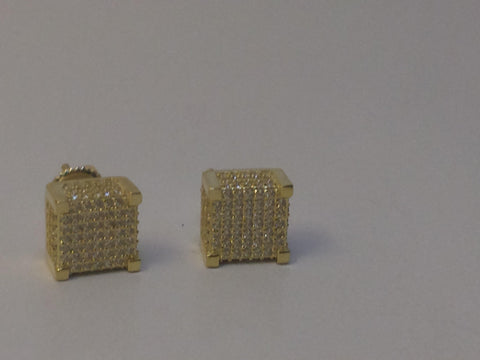 Square Box Icey Silver Dipped In Gold Earrings