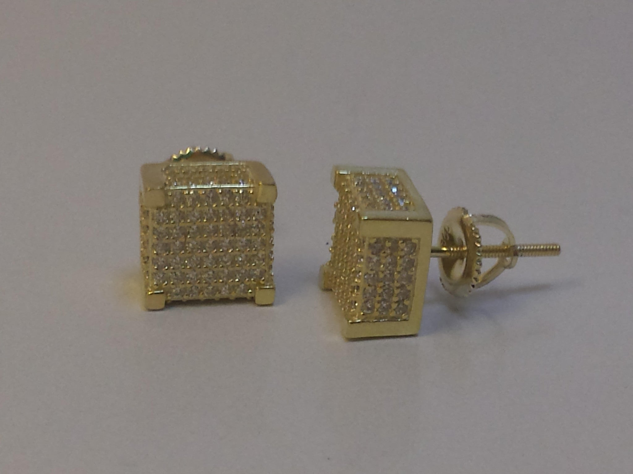 Square Box Iced Out Silver Dipped In Gold Earrings